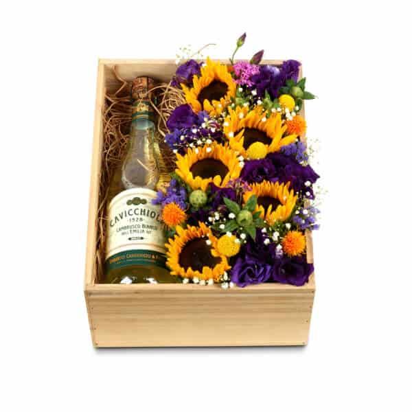 מארז פרחים ויין